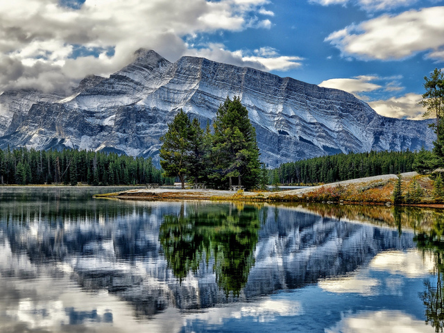 vermillion lakes, canada, banff national park, mount rundle, озёра вермилион, alberta