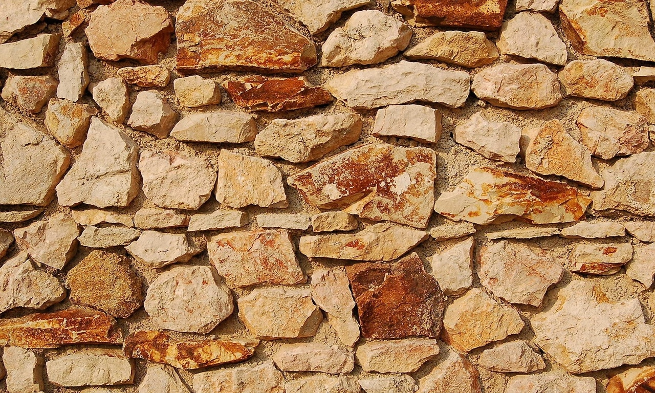 red, blocks of stone, wall, pattern, yellow