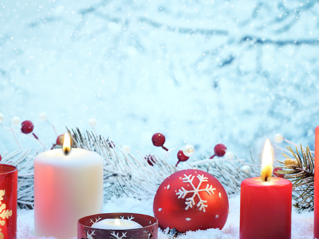 red, cherry, lights, balls, ornaments, decoration, candles, new year, merry christmas, bokeh