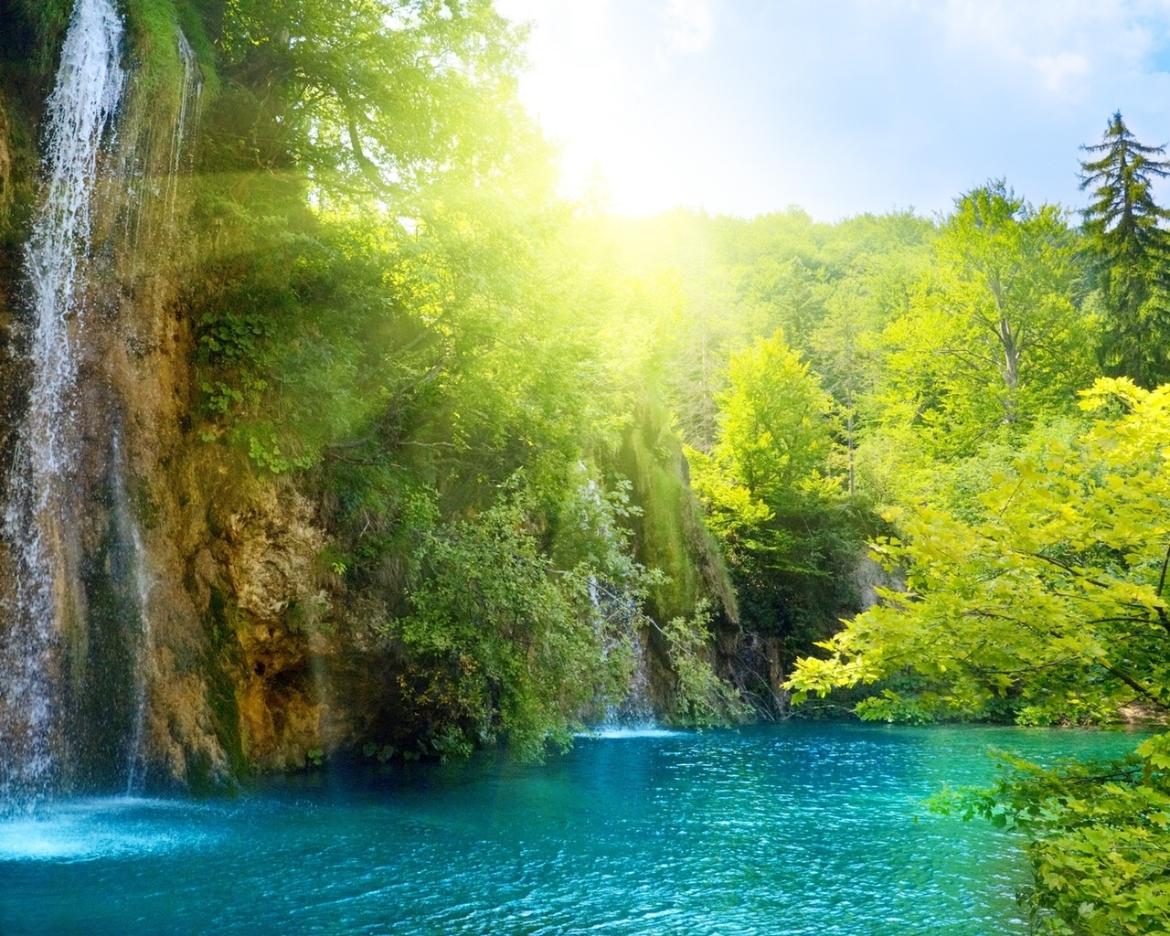 beautiful, sky, lake, waterfall, deep forest, clouds, landscape, trees, sunlight, nature, sea