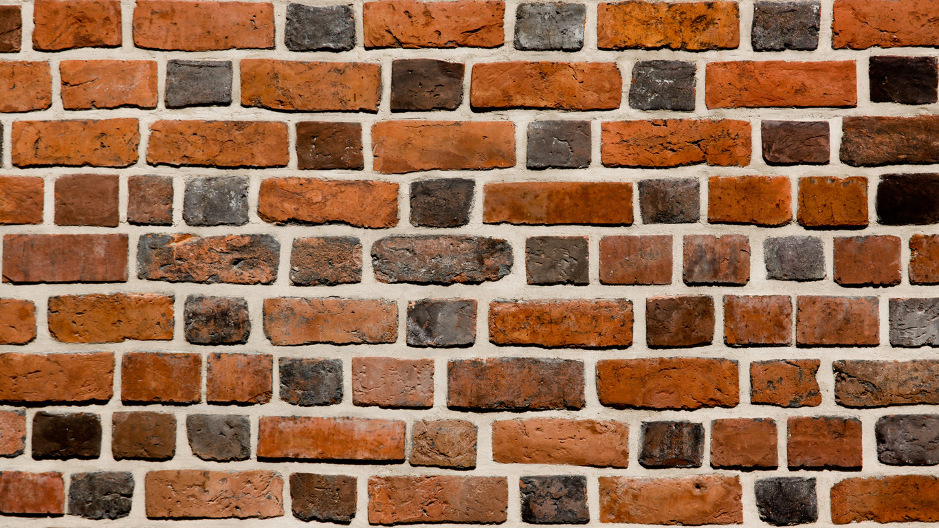 brick, wall, varied, pattern, cement