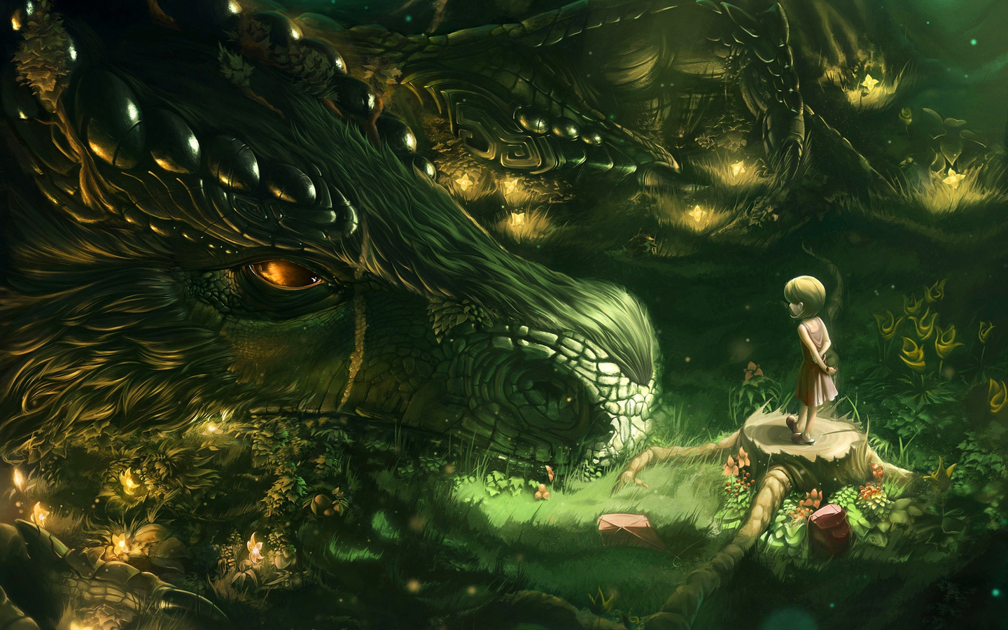 fantasy, dragon, child, green, fortress