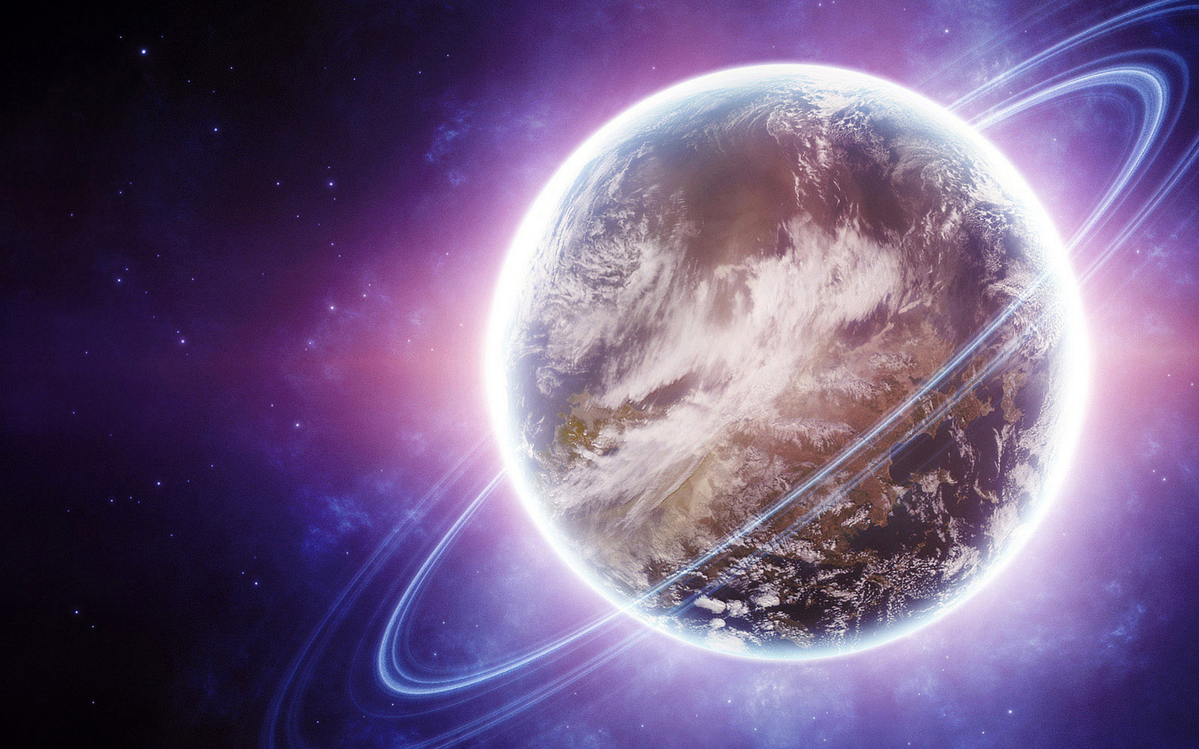 sci fi, planet, violet and lights, ring
