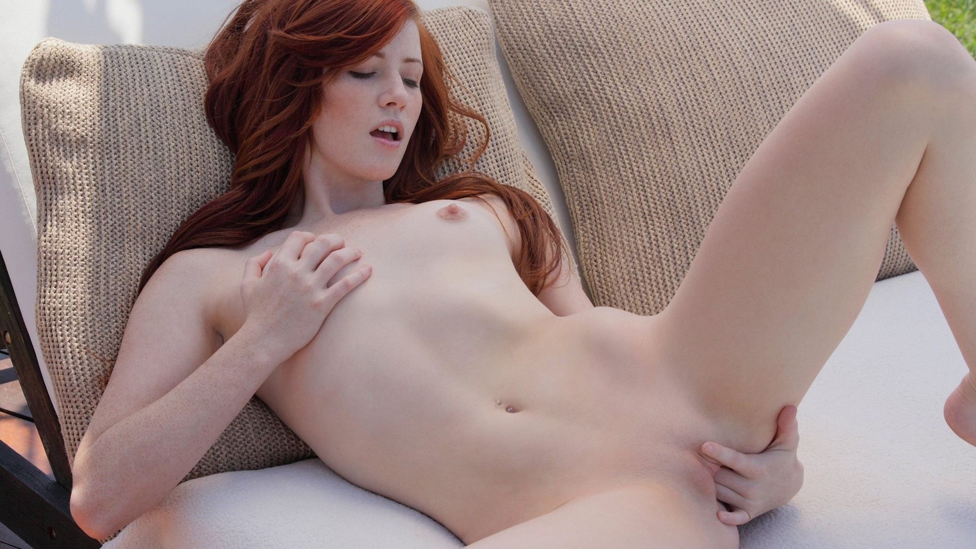 Beautiful Busty Redhead Iga Gets Nude On A Couch