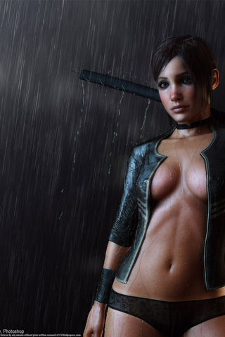 girl, sword, katana, tits, slips, tatto, regen