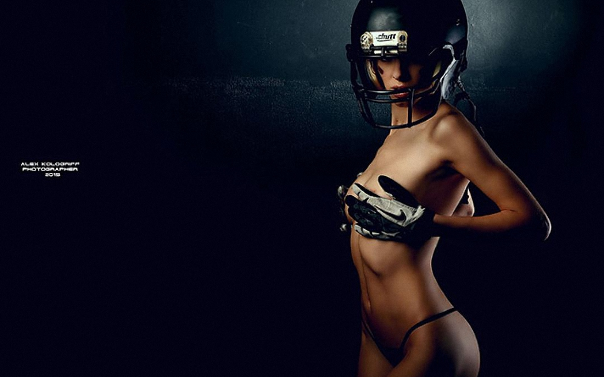 Naked girl with a football helmet on — pic 3