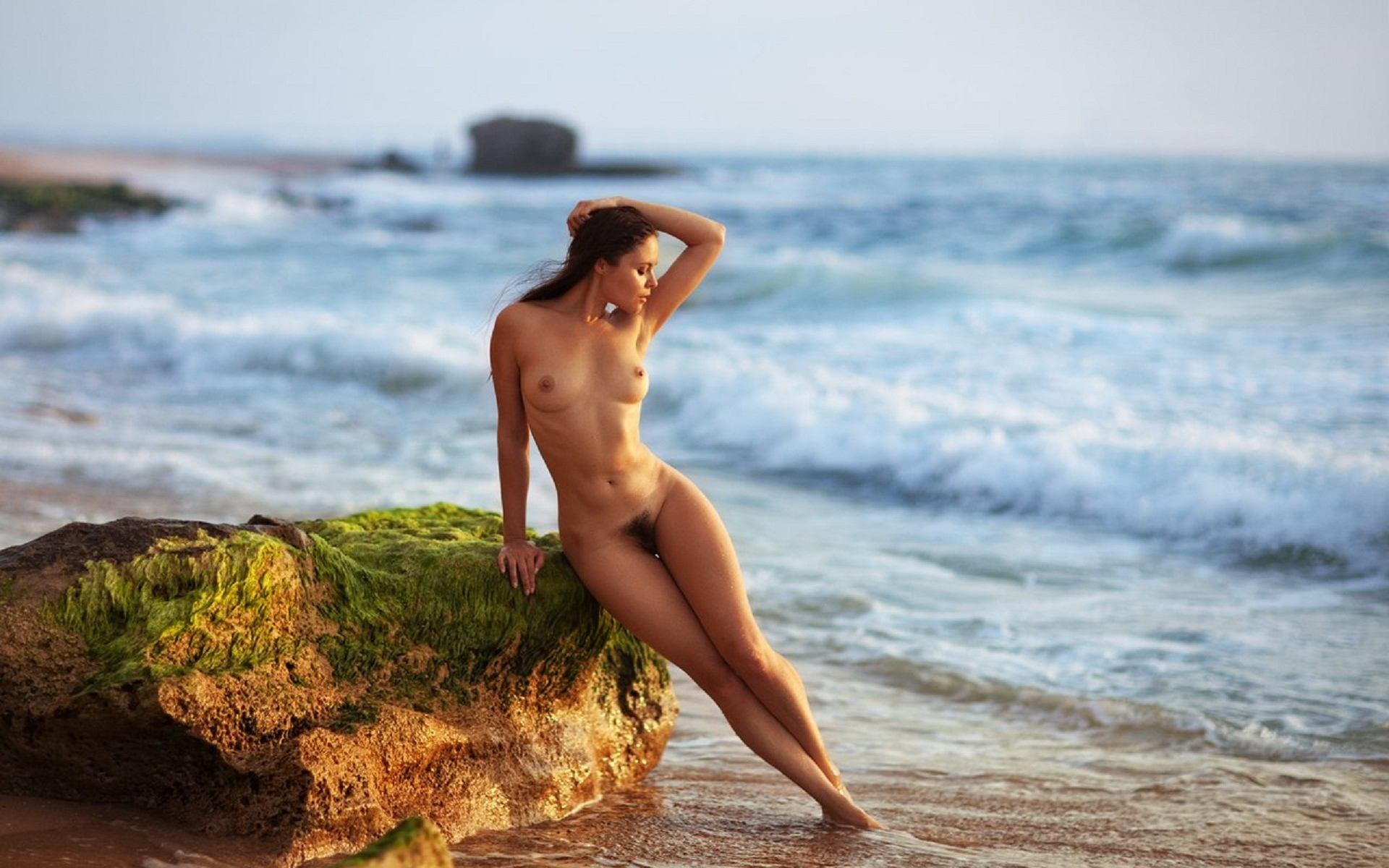 Naked girl in the beach, petite young masterbation