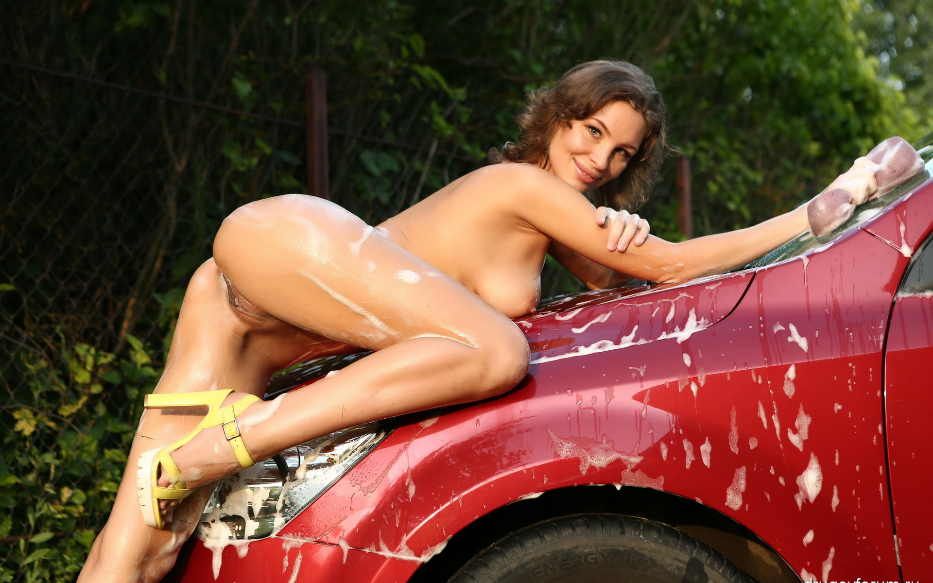 Sexy women giving nude car washes #11