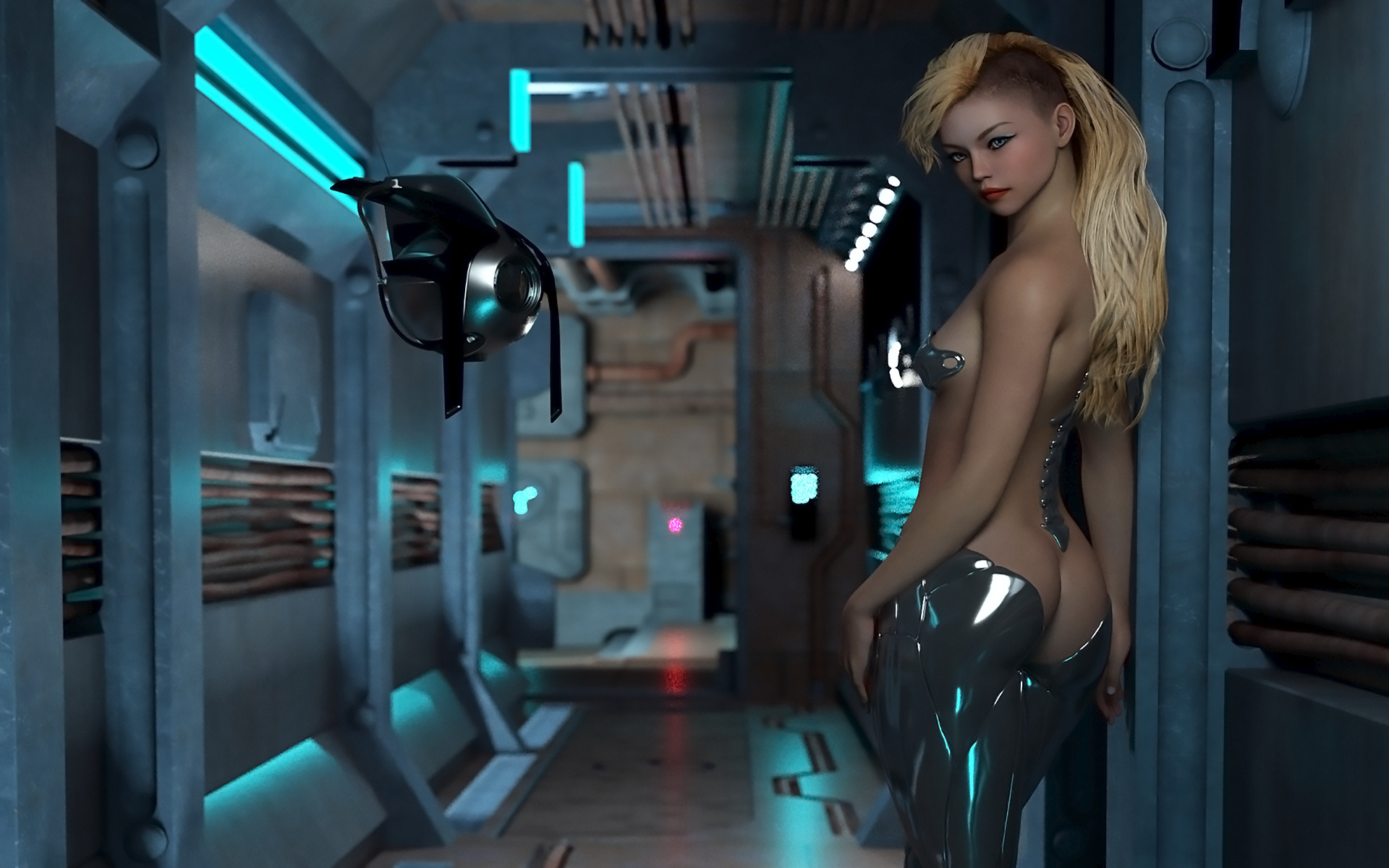 Naked women in space