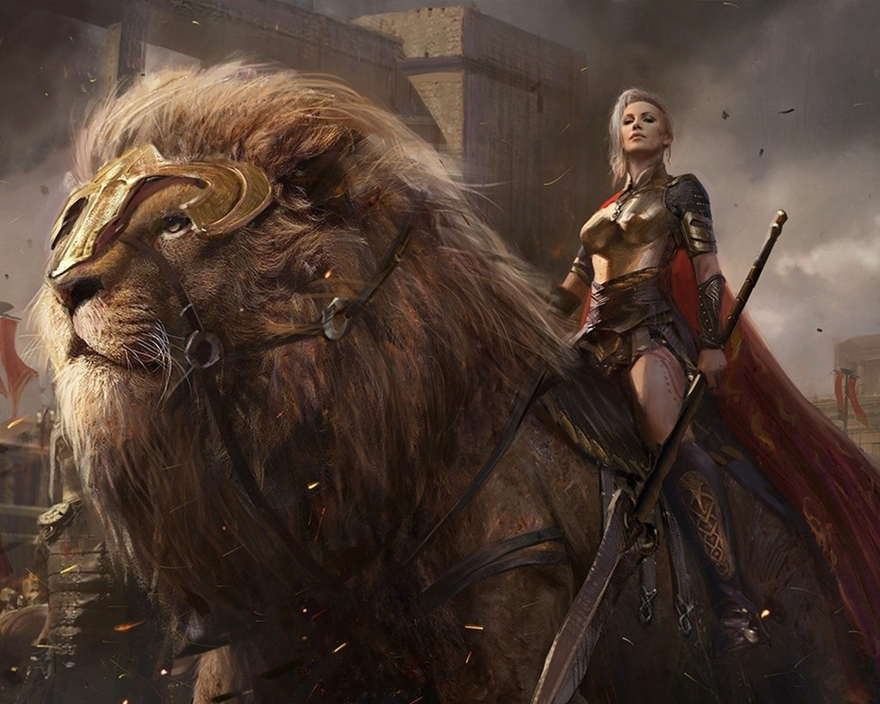 swords, weapons, lion, army, blades, giant lion, conquerors, power, ken, sovereign, shield, spears, men
