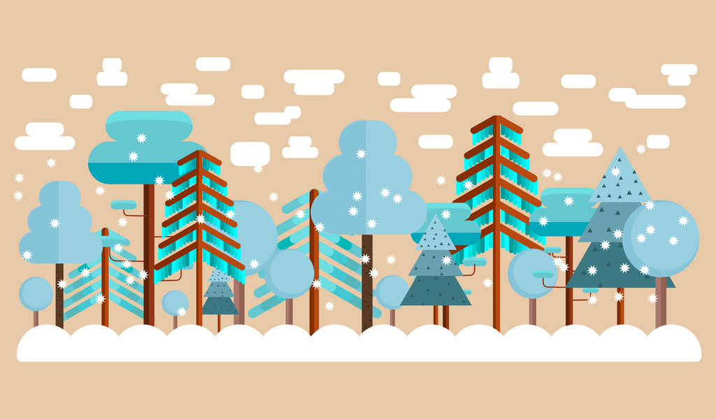 winter, trees, snow, drifts, flat design