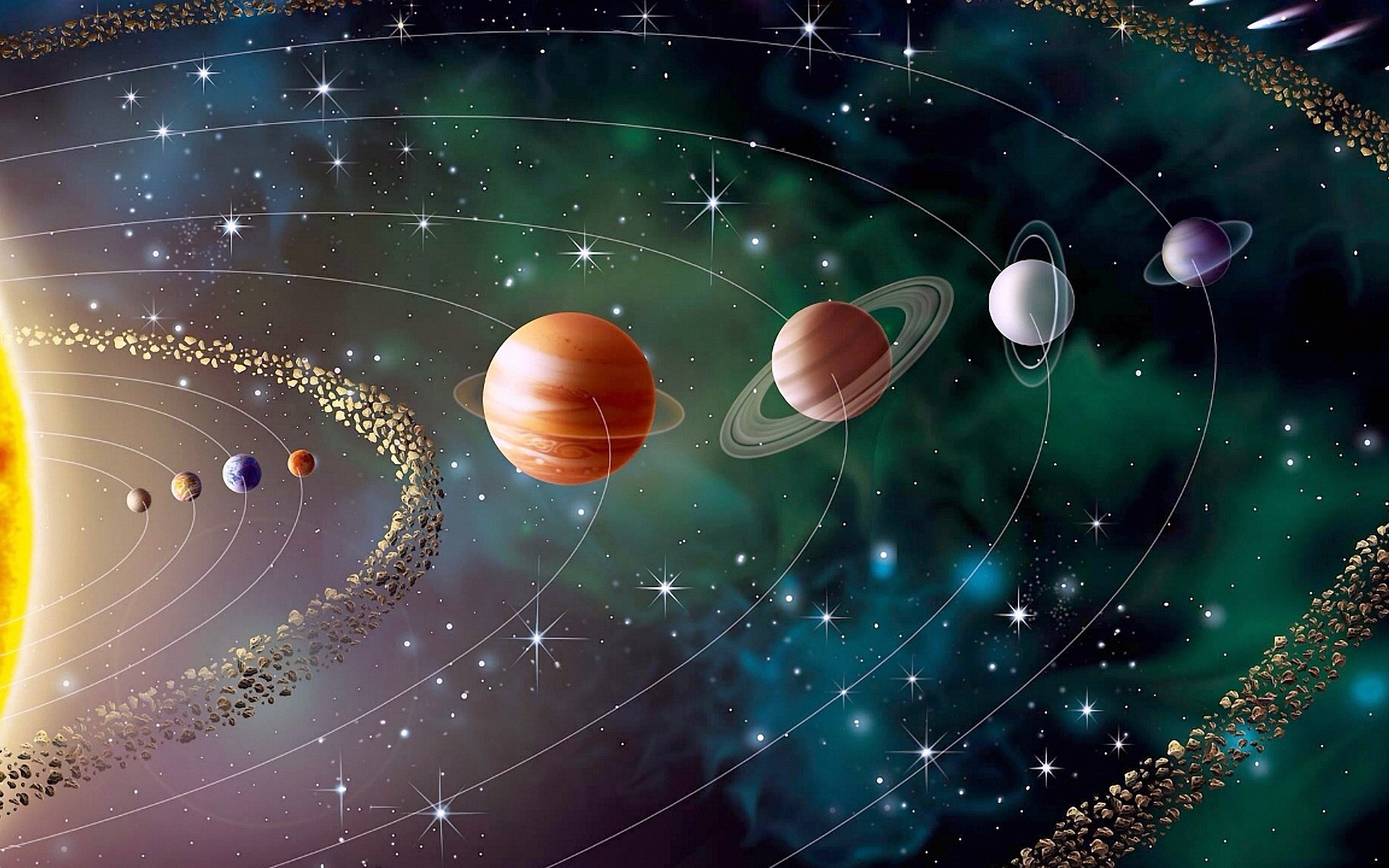 planets orbiting video - HD 1920×1200
