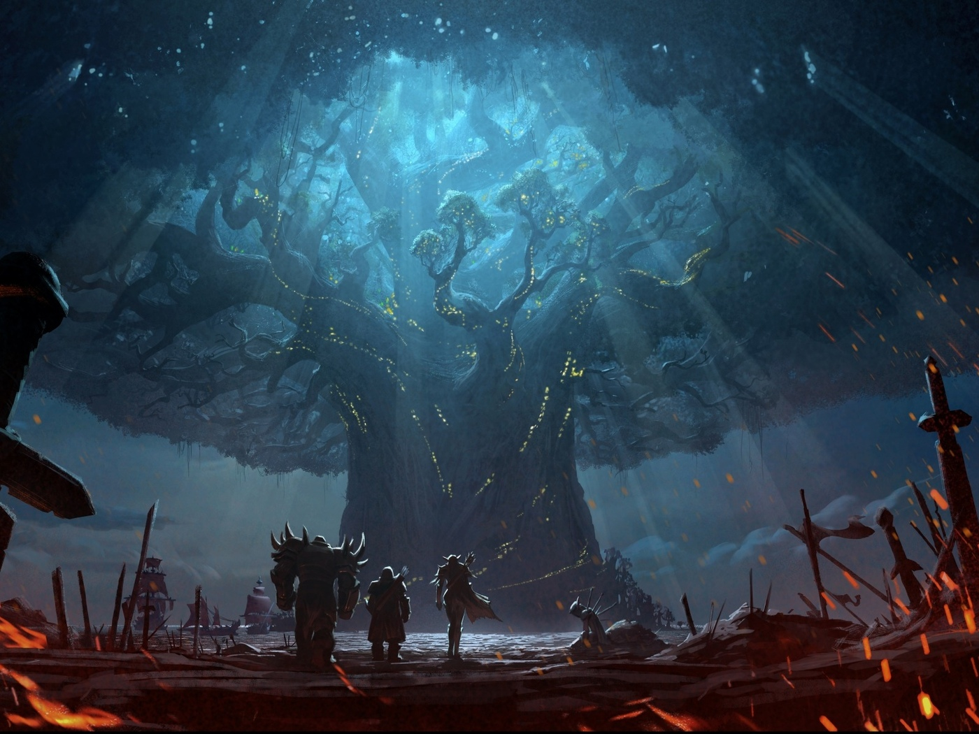 battlefield, game, horde, battle, arcraft, sword, trees, weapon, fantasy, artwork, elf, sailing ship, digital art, fantasy art, orld of arcraft, orld of arcraft attle for zeroth, lliance, eldrassil, fire, landscape