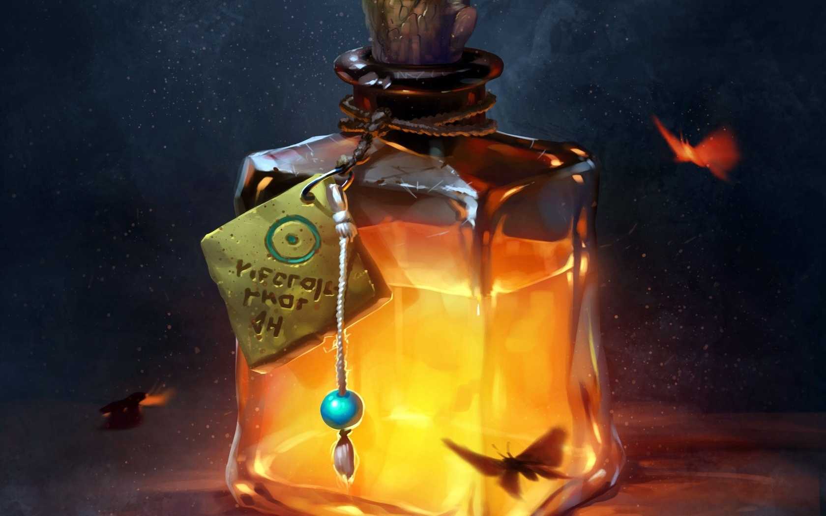fantasy, fire, bottle, fantasy art, digital art, liquid, otion, butterflies, artwork