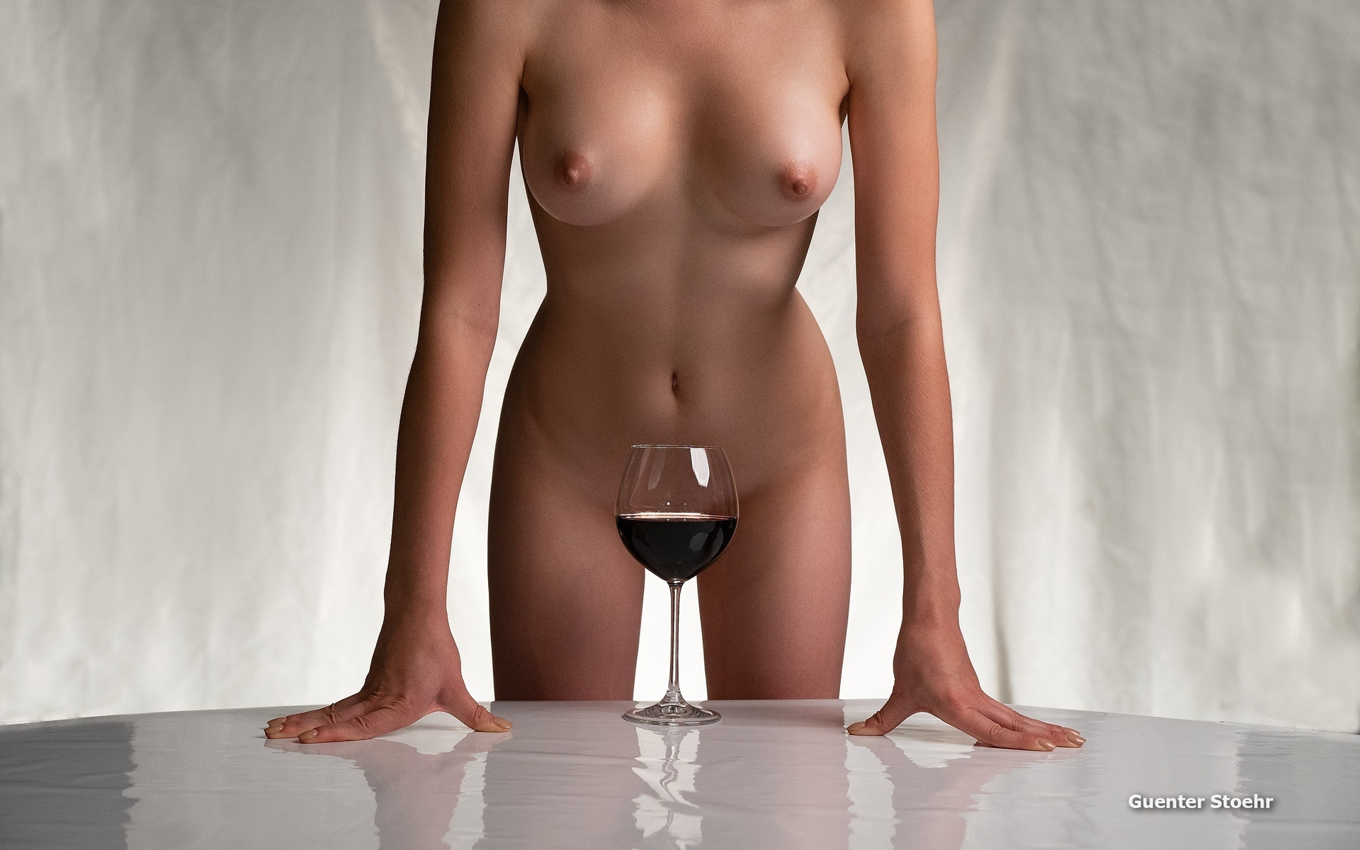Nude woman red wine photography by johan swanepoel