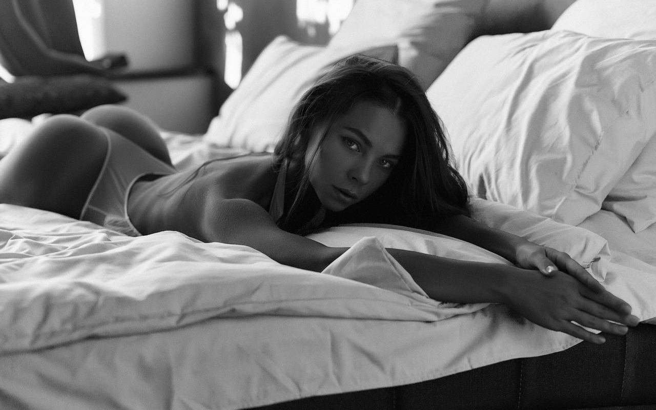 women, monochrome, lingerie, in bed, ass, pillow, lying on front