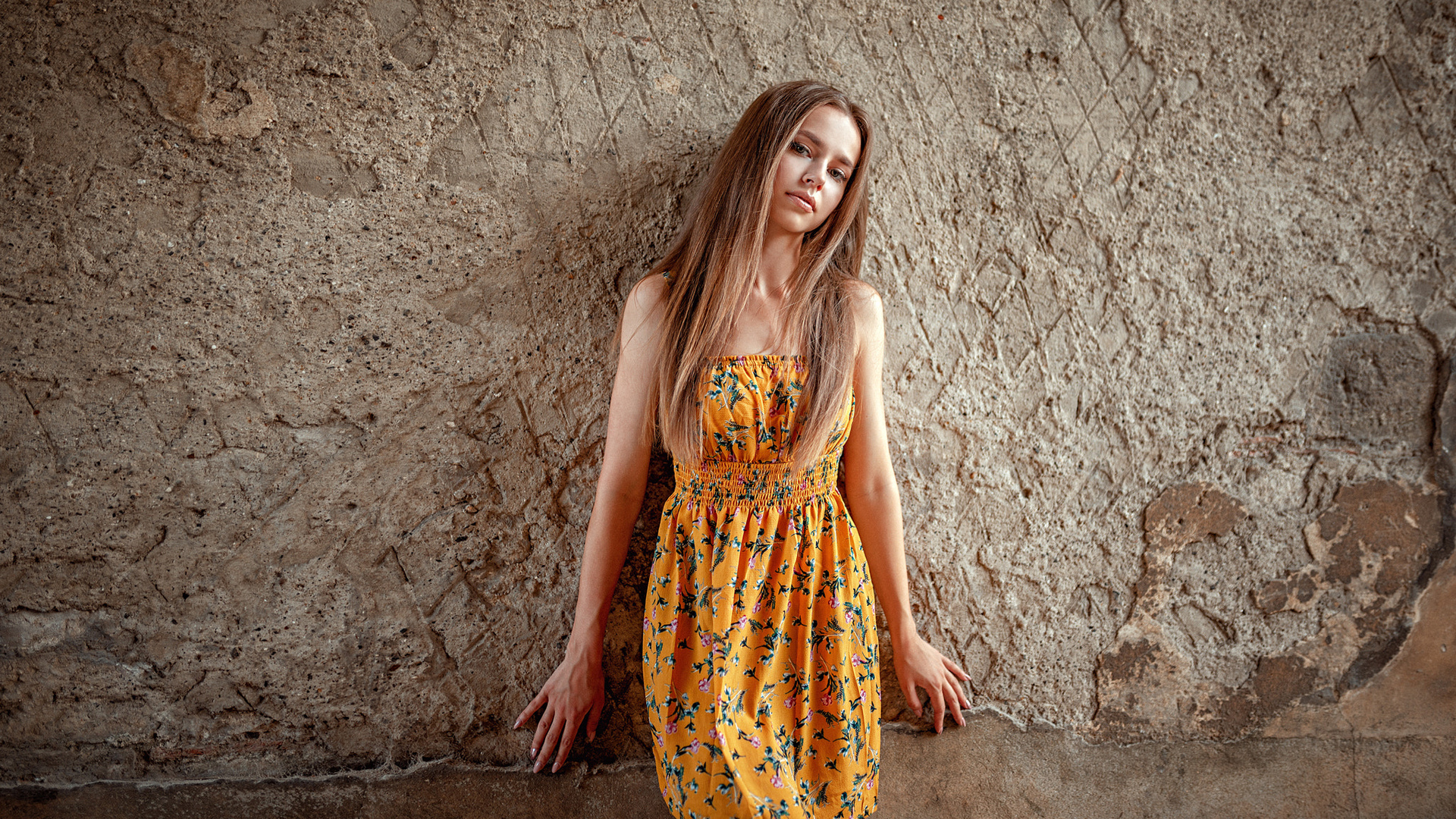 women, portrait, dress, blonde, wall, yellow dress