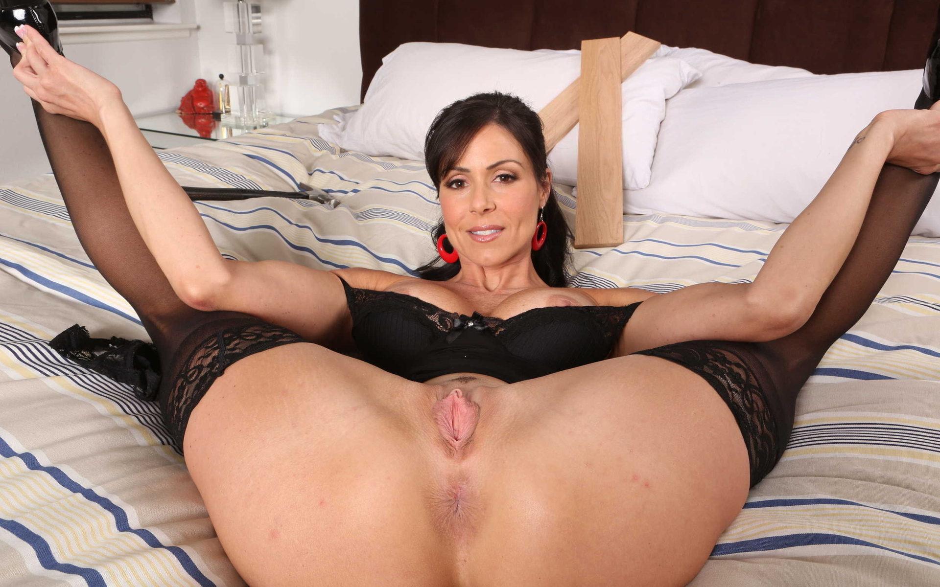 Sexy Big Titted Brunette Milf Shows Ass In Lingerie On Bed Most Sexy Porn