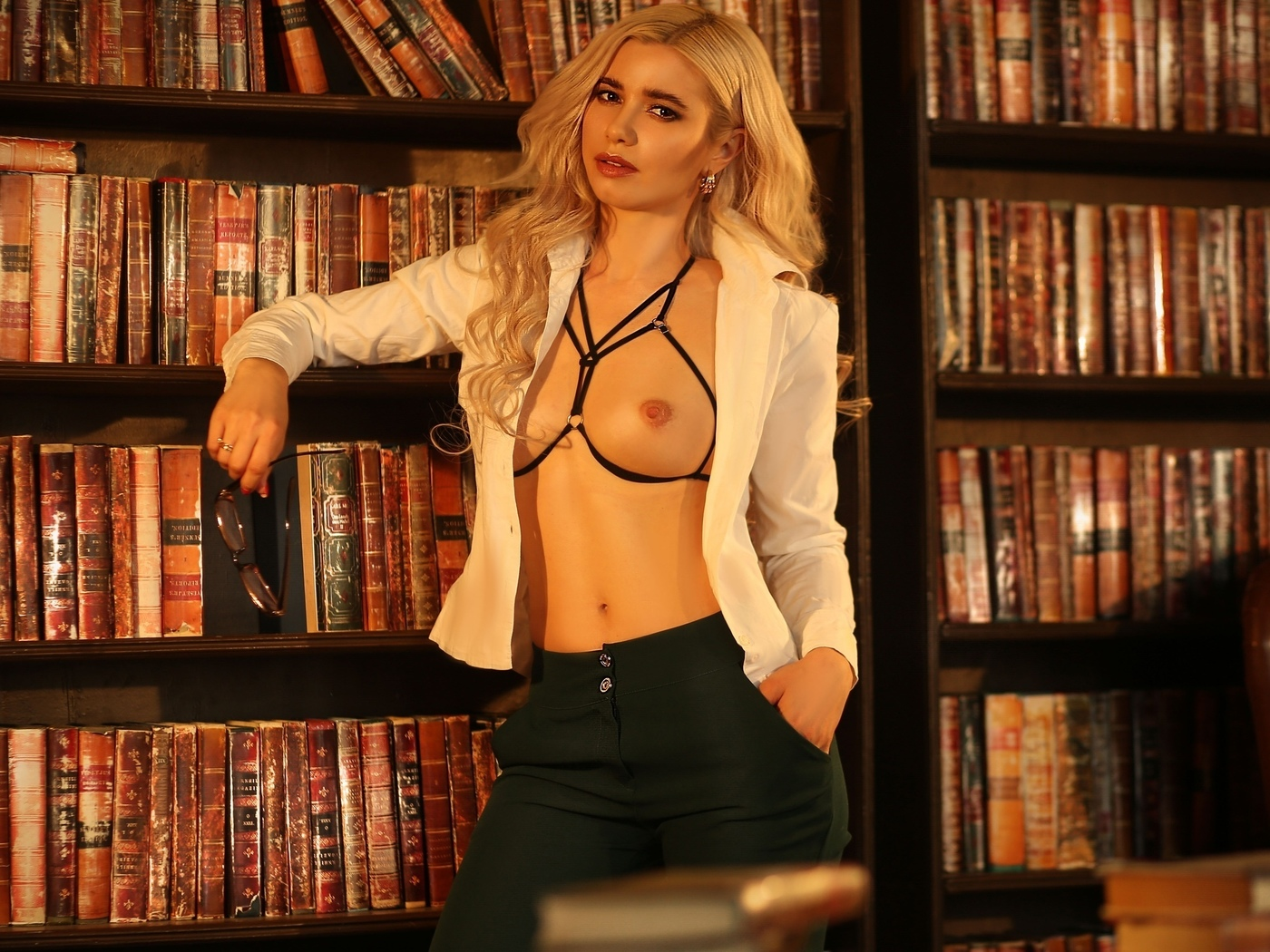 sexy girl, nice boobs, books
