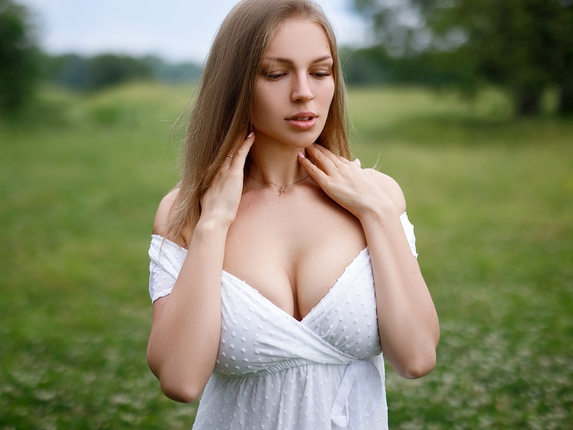 sexy girl, big boobs, white dress