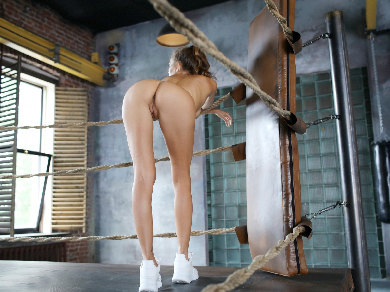 katya clover, clover, mango, caramel, mango a, brunette, boxing gym, naked, boobs, shaved pussy, labia, ass, anus, running shoes, hiq