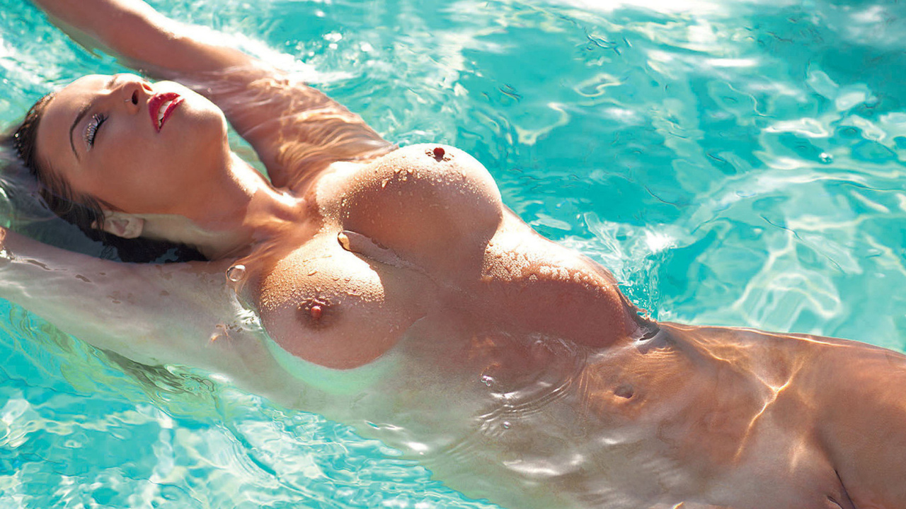 girl, nude, pool, boobs