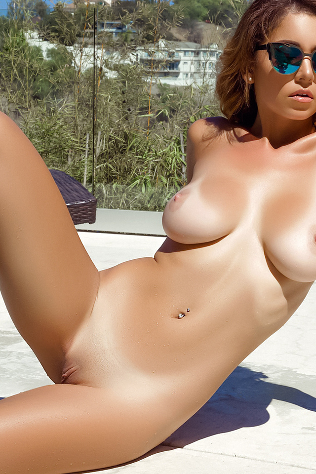 ali rose, sexy girl, adult model, nude, naked, boobs, tits, shaved pussy, pool, brunette