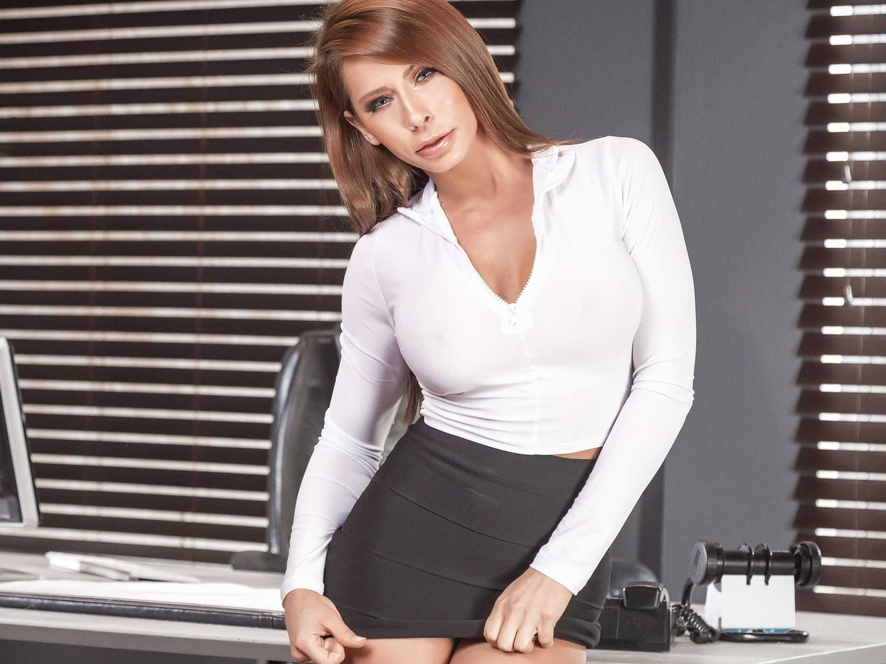 madison ivy, white shirt, gray skirt