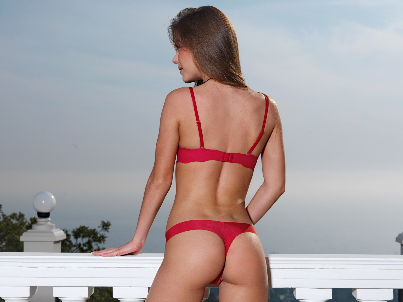 lily c, ass, red lingerie