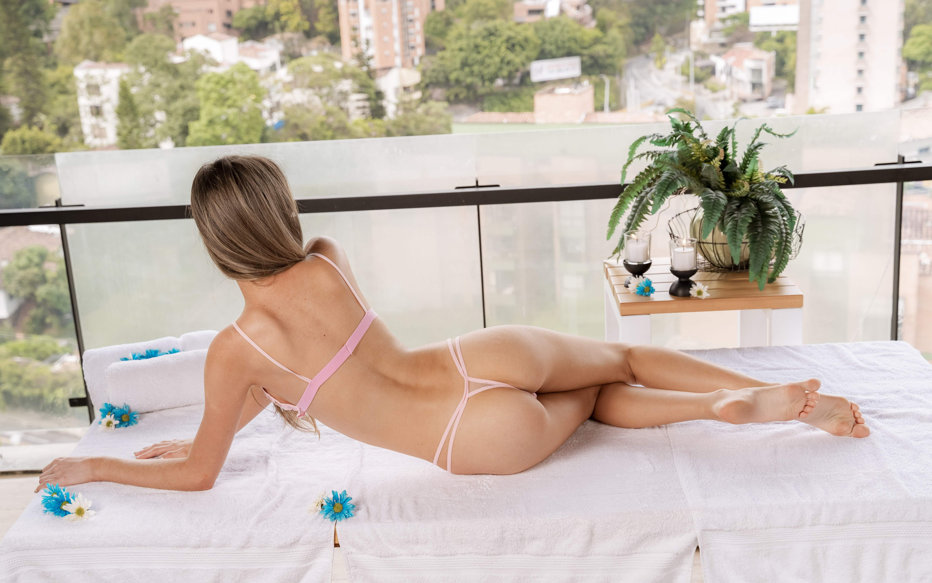 girl, back, ass, pink lingerie