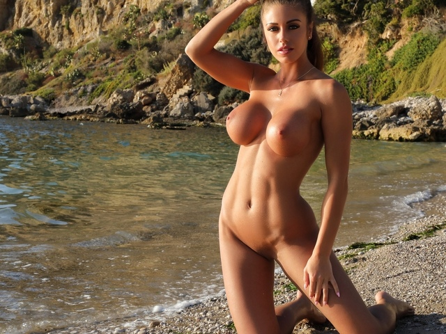 sexy girl, brunette, nice boobs, sea