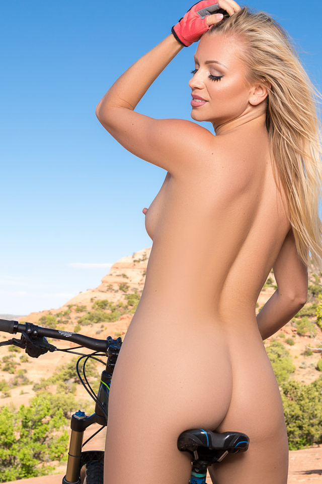 playboy girl, small tits, ass, bicycle